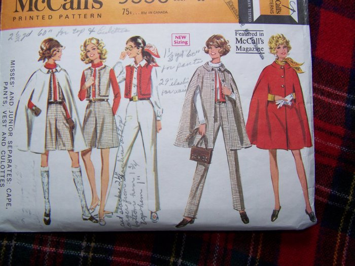 Vintage Sewing Pattern 9550 Hippie Cape Vest Dart Fitted Pants Culottes