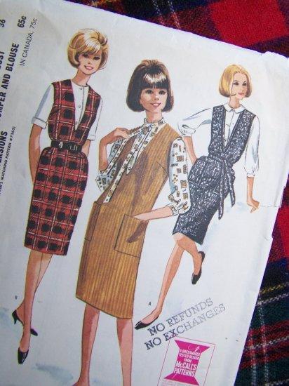 USA 1 Cent S&H Vintage 1960's Sewing Pattern Deep V Jumper Dress Retro Blouse Sz 16