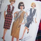 USA 1 Cent S&H Vintage 1960's Sewing Pattern Deep V Jumper Dress Retro Blouse Sz 16