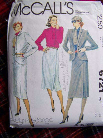 USA 1 Cent S&H Vintage Sewing Pattern 6721 Evelyn De Jonge Jacket Straight Skirt Blouse