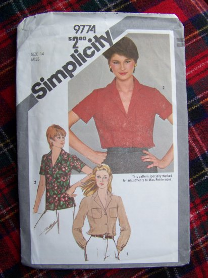 1 Cent USA Shipping Special Vintage Sewing Pattern 9774 Blouse Shirt Top Sz 14