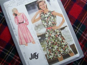Vintage Sewing Pattern 9444 Long or Cap Sleeve Dress Sz 14