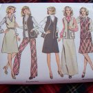 Misses Hippie Suit Sewing Pattern 6525 Jumper Dress Unlined Vest Pants Sz 12