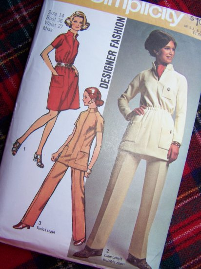 1970 Vintage Sewing Pattern 8914 Dress or Tunic Top Stand Up Collar Elastic Waist Pants 14