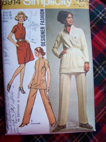 70's Designer Fashion Hippie Suit Standing Collar Dress Tunic Top Pants Sz 16 8914