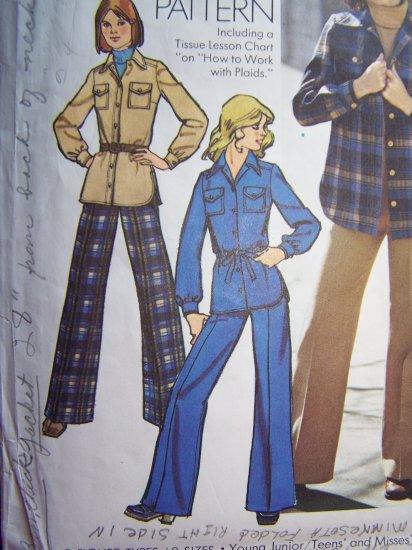 Vintage 70's Sewing Pattern Safari Shirt Jacket Pants Suit 5854 Sz 14