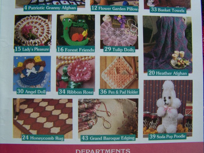 15 Crocheting Patterns Book 64 July Aug 1997 Granny Afghan & Baby Layette +
