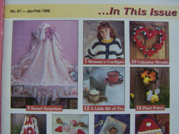 20 Crochet Patterns Book 67 Jan Feb 1998 Baby Lace Blanket Doll CLothes Fridgies