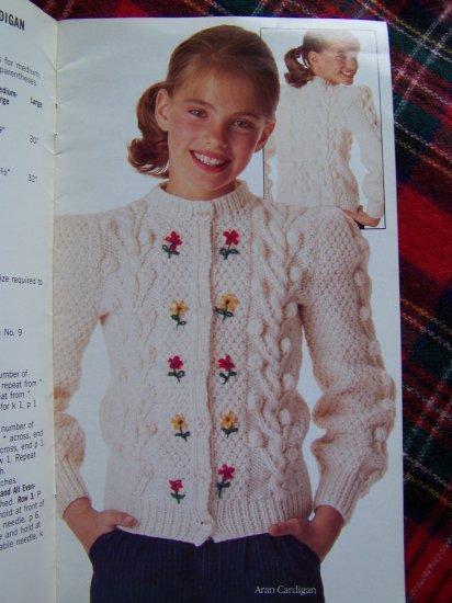Vintage Simplicity Knitting Childrens Sweaters Aran Pullover Cardigan Argyle Penguin