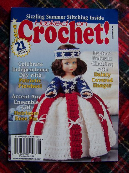 21 Crochet Patterns Book Dolls Afghan Rose Pin Ada Doily Walker Pack July Aug 99