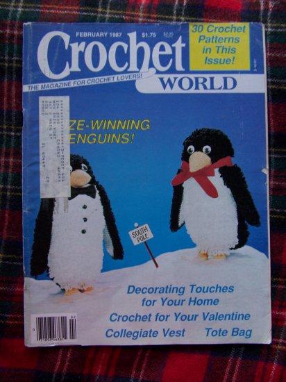 30 Vintage Feb 1987 Crochet World Pattern Magazine Thread Crocheting Patterns