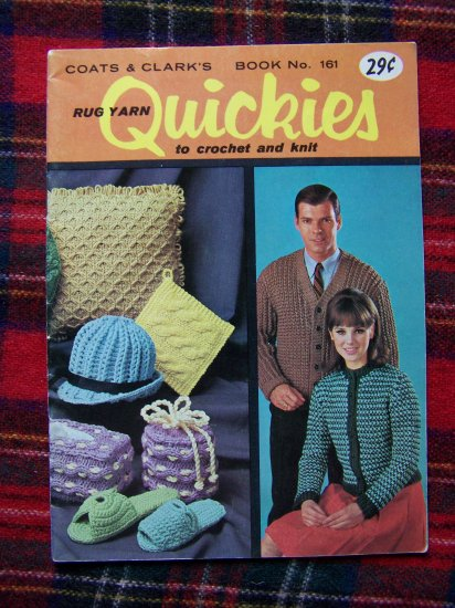 Vintage Knitting & Crocheting Patterns Book 161 Retro 1960's Hats Pillows Slippers Sweaters