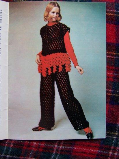 1960's Vintage Knitting & Crochet Patterns Misses Hippie Tank Dress Pants Poncho Set 232