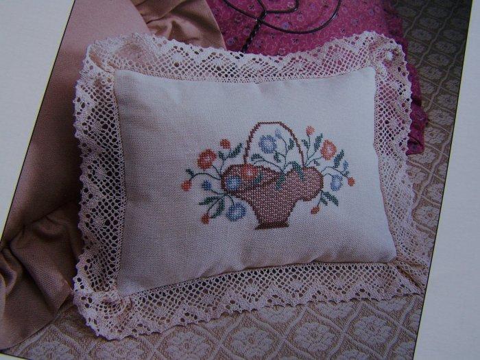 S&H USA 50 Cent  Victorian Floral Basket Pillow Cross Stitch Pattern