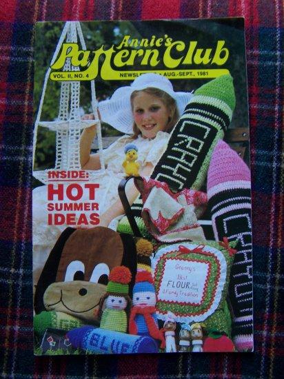 Vintage Annies Pattern Club Book # 4 Aug Sept 1981 Bedtime Buddies 3 Tier Hanging Basket +