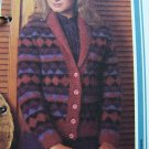 Vintage Knitting Pattern Womens Harlequin Sweater Coat Jacket USA 1 Cent Shipping