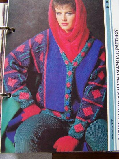 USA 1 Cent S&H  Ladies Knitting Pattern Diamond Design Cardigan Sweater