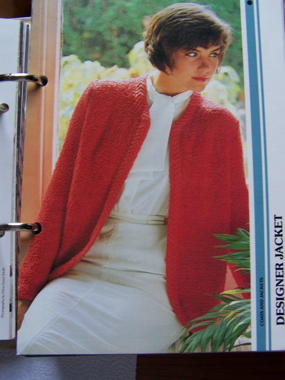 US 1 Cent S&H 1980's Designer Jacket with Cable Knit Border Vintage Knitting Pattern