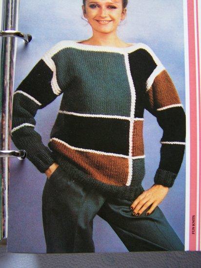 USA 1 Cent S&H  Vintage Knitting Pattern 1980's Geometric Boat Neck Sweater