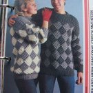 US 1 Cent S&H 80's Vintage His Hers Diagonal Check Sweaters Knitting Patterns