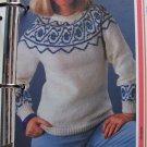 Vintage KNitting Pattern Ladies Sweater design on Yoke and Cuffs USA 1 Cent S&H