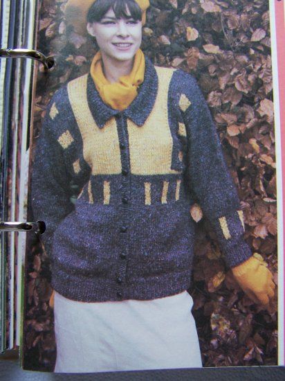 USA S&H 1 Cent  Vintage KNitting Pattern Lady's Cardigan Sweater with Color Block Design