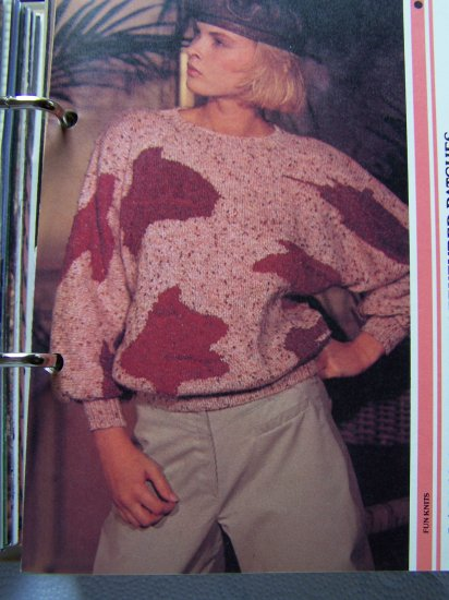 Lady's 1980s Vintage Pullover Sweater With Textured Patches Pattern USA 1 Cent Shipping Special