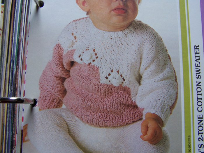 Baby 2 Tone Cotton Pullover Sweater Knitting Pattern 3 5 6 12 Months 2 3 Years
