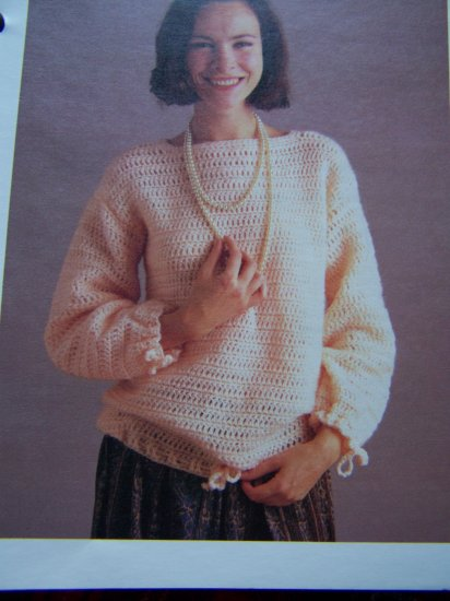 Easy Crocheting Pattern Misses Blouson Sweater Crochet 1980's USA 1 Cent S&H