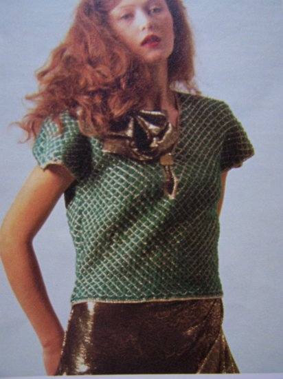 1980's Evening Cap Sleeve Sweater Top Vintage Knitting Pattern USA 1 Cent S&H
