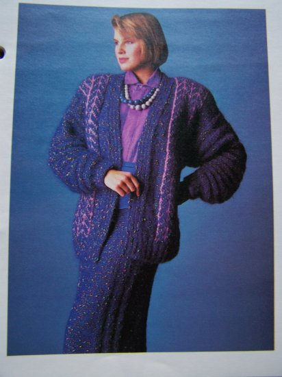 80's Herringbone Knitted Suit Skirt Jacket Vintage Knitting Pattern USA 1 Cent S&H