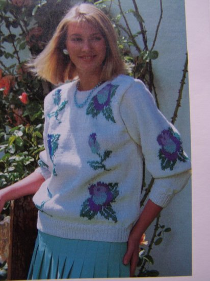 Women's Knitted Rosebud Pullover Sweater Vintage Knitting Pattern USA Penny S&H