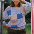 US 1 Cent S&H Woman's Vintage 80's Knitting Pattern Pullover Sweater Square Blocks