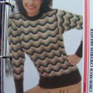 1 Cent USA S&H 80's Vintage Knitting Pattern Crew Neck Chevron Pullover Sweater