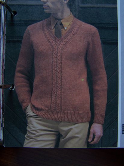 USA 1 Cent S&H  VIntage Man's Knitting Pattern Pullover Cable Front Sweater