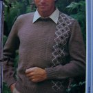 USA 1 Cent S&H Vintage Mens Pullover Sweater With Vertical Patterned Panel