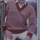 Men's Chest 38 - 44 Striped V Neck Sweater Knitting Pattern Vintage USA 1 Cent S&H