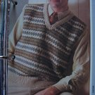 US 1 Cent S&H Mens Womens Vintage Knitting Pattern Fair Isle Sweater Vests