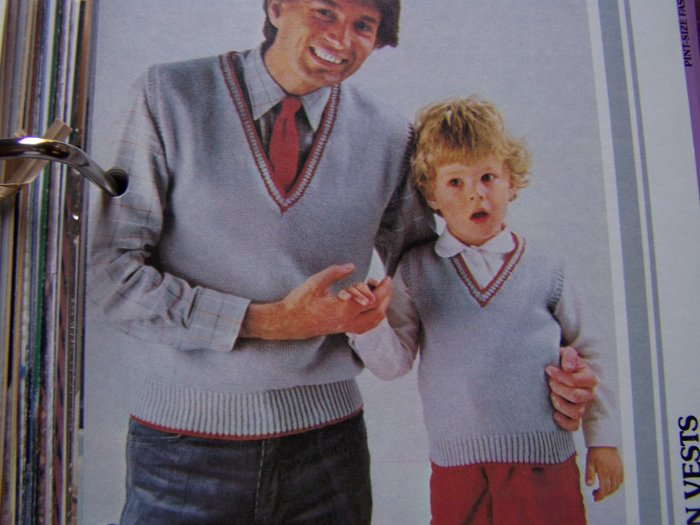 Vintage Father & Son Matching Knit Sweater Vests Knitting Patterns