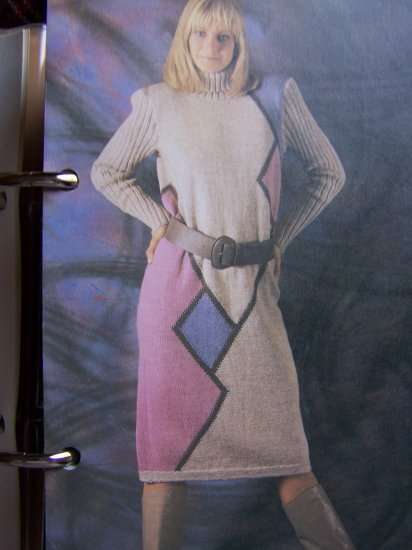 Womens 1980's Knitting Pattern Long Sleeve Geometric Knit Dress 1 Cent USA S&H