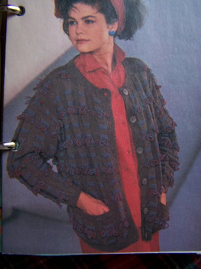 80's Cardigan Sweater Knitting Pattern Baggy Fit Loop Stitch USA 1 Cent S&H