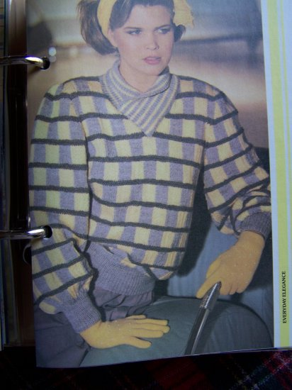 USA 1 Cent S&H Lady's Checkerboard Patterned Sweater Knitting Pattern Vintage 1980's
