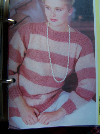 Beginners Knitting Pattern Misses Pullover Boatneck Striped Long Sleeve Sweater