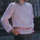 Womens Mohair Brick Stitch Pullover Sweater Crochet Pattern USA 1 Cent S&H