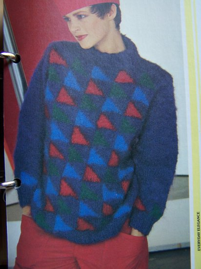 1 Cent USA S&H Vintage KNitting Pattern Ladies Mohair Type Yarn Triangle Sweater
