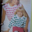 Vintage Knitting Patterns Mother Hearts Slipover Top & Daughter Pullover Sweaters