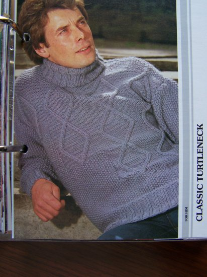 USA 1 Cent S&H Mens Classic Pullover Turtleneck Knitting Pattern Vintage 80's