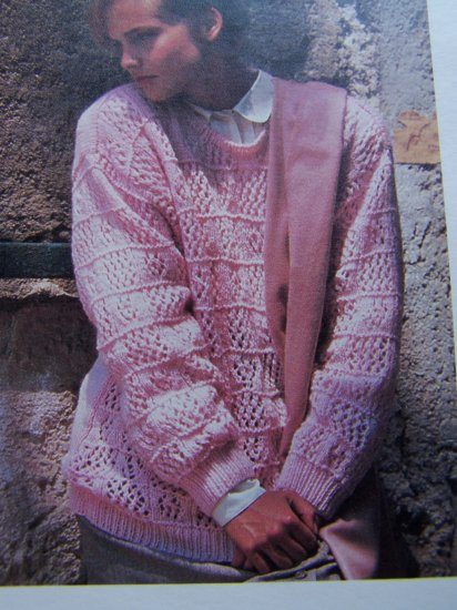 Womans Pullover Barred Eyelet Sweater Knitting Pattern USa 1 Cent S&H