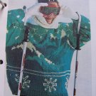 Vintage Knitting Pattern Womens Alpine Winter Scene Bulky Pullover Ski Sweater