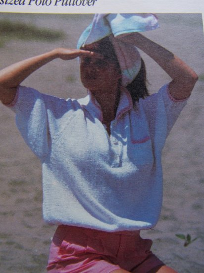 USA 1 Cent S&H Vintage Ladies Oversized Polo Sweater Knitting Pattern